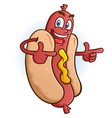 hot dog cartoon character pointing both fingers vector image vector image