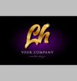 lh l h 3d gold golden alphabet letter metal logo vector image vector image