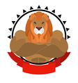 Lion athlete round emblem Big wild animal with vector image