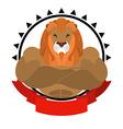 Lion athlete round emblem Big wild animal with vector image vector image