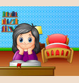 little girl reading a book in the room vector image