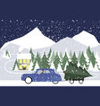 man drives in a retro car on a winter road vector image vector image