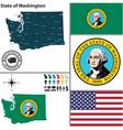 map washington with seal vector image vector image