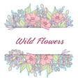 pastel wild flowers delicate frame vector image