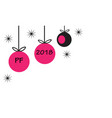 pf 2018 with hanging christmas ball baubles and vector image vector image