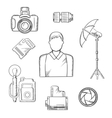 Photographer with equipment and items sketches vector image vector image
