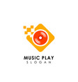 pixel music play logo design template vinyl disc vector image