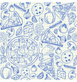 pizza doodles seamless pattern vector image