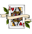 playing card queen heart vector image vector image