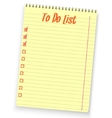 Realistic to do list spiral notebook yellow vector image vector image