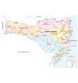 santa catarina road and administrative map brazil vector image vector image