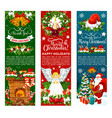 santa with christmas gift and bell greeting banner vector image vector image