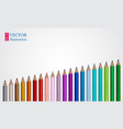 set of coloured pencils on white vector image vector image