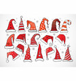 set of doodle christmas hats on white background vector image