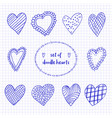 set of hand drawn sketch doodle hearts on the vector image vector image