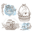 set with easter symbols and lettering vector image vector image