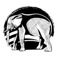 silhouette an elephant with skin texture vector image
