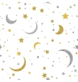 Starry seamless background with gold and silver vector image