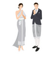 thai wedding couple greeting in traditional dress vector image vector image