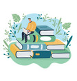 thoughtful young man sits on stack of books vector image