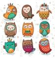 Tribal owl set vector image vector image
