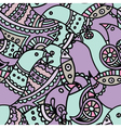 violet ethnic indian bird seamless pattern vector image vector image