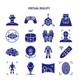 virtual reality silhouette icon set in flat style vector image vector image