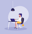 woman with laptop in workplace character vector image