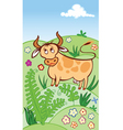 cute cow grazing in a meadow vector image
