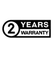 2 year warranty stamp on white vector image vector image