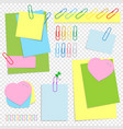 a set of colored office sticky sheets of vector image