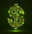 abstract symbol of dollar with circuit board vector image