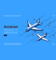 aviation banner planes on runway in airport vector image