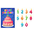 birthday card with numbers candles anniversary vector image