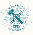 blacksmith label with vintage sun burst crossed vector image vector image