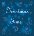 blue background with Christmas trees and gifts vector image vector image