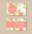 business card with floral background vector image vector image
