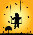 child on swing silhouette vector image vector image