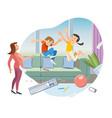 children making mess in living room cartoon vector image vector image