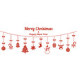 christmas greeting card holiday signs and symbols vector image