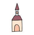 church cartoon hand drawn icon vector image