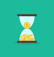 coins in hourglass money is time concept vector image vector image