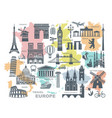 collection europe detailed silhouettes set vector image