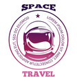 colorful space travel label design with astronaut vector image vector image