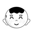 contour cute baby boy head with hairstyle design vector image vector image