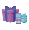 dataphone device with bills dollar and gift box