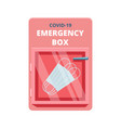 emergency box with medical facial masks in red vector image