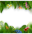 green summer with tropical leaves and flowers vector image vector image