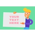 Guy holding banner and winking Flat vector image vector image
