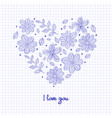 hello spring floral heart isolated on the vector image
